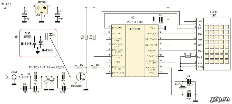 Частотомер pic16f628a
