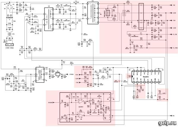 Схема блока питания ATX PW-230