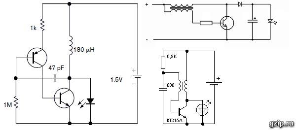 Схемы питания светодиода от одной батарейки 1.5В