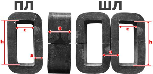 Размеры магнитопровода сердечника трансформатора