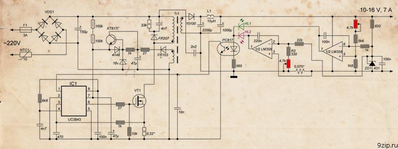 Схема зарядного устройства на UC3843